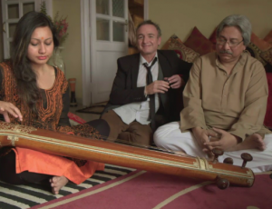 Tritha with her music guru, Pandit Santanu Bandhyopadhyay and Canadian actor, Monsiuer Bruno
