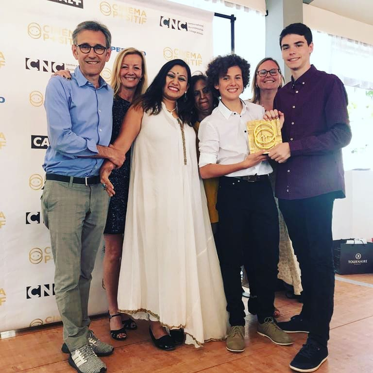 "Tritha in Cannes with the Coup de Cœur Award for ""Voyage for Change"" film"